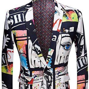 Other - Men's Fashion Slim Fit Casual Print One ButtonSuit